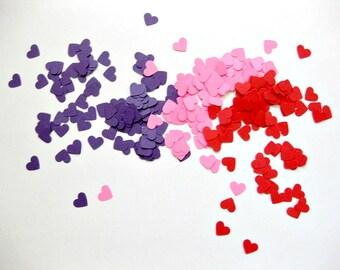 Mini Heart Confetti Valentines Day Confetti Set of 300 -  Heart Die Cuts Purple Pink Red Hearts