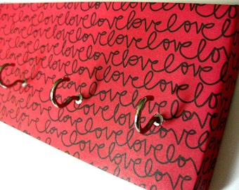 """Love Key Rack Love Jewelry Holder Valentines Day Red and Black Inspirational Jewelry Organizer Anniversary Gift Gift For Her """"LoveLove"""""""