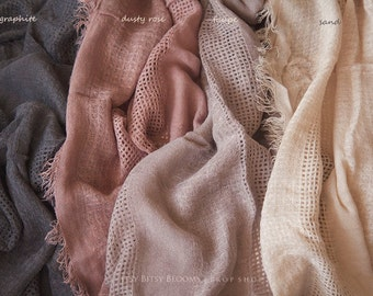Newborn Baby Wrap, Soft Textured Wrap, Long Baby Wrap, Newborn Layering Fabric, RTS - 8 colors