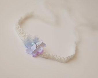 Ellie Flower Tieback, Newborn Floral Tieback, Baby Photo Prop, Cream Blue Violet Baby Tieback, RTS