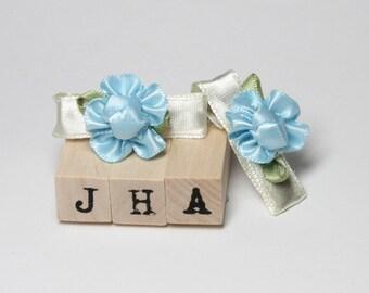 Baby girl satin flower hair clips - blue