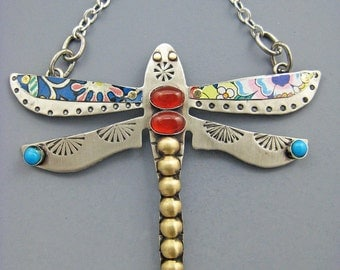 Dragonfly Necklace, Dragonfly Jewelry, Dragonfly Pin, Vintage Tin Wings, Dragonflies, RP0225
