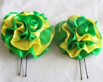 Hair Pins Emerald Green and Yellow Satin Ruffle Flower Women Teens Girls Wedding Bridal Bridesmaids Flowergirls