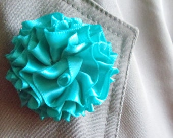 Teal Lapel Pin Brooch Pin Flower Pin Boutonniere