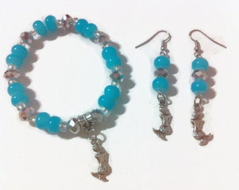 Blue Mermaid Jewelry Set, Beaded Jewelry, Beach Themed, faceted beads, stocking stuffers, summer fashion, gift ideas, christmas gifts,
