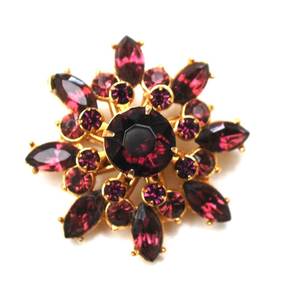 Purple  Atomic Brooch - Amethyst color Glass Crystal flower - gold plating floral pin