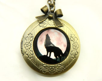 Necklace locket wolf and moon