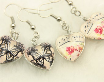 Earrings style vintage Double sided cabochon (1318B)