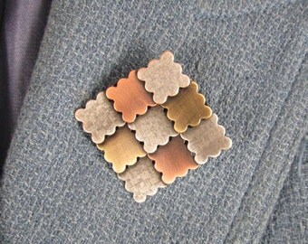 Patchwork Quilt Brooch- Gifts for Quilters- Quilt Jewelry- Modern Quilter