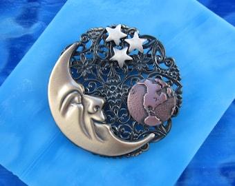 Moon Brooch- Moon Pin- Man in the Moon- Celestial Pin- Sun Moon Star- Moon Jewelry