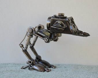 "Hand Made Star Wars ATST 12"" Inches Recycled Scrap Metal Sculpture"
