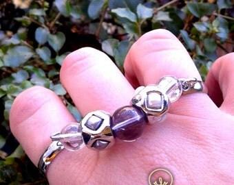Hand-made duoble ring Purple rhombus