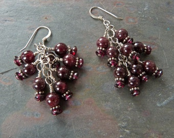 Red Garnet Cluster Earrings with Bali Sterling Silver, Handmade