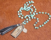 Leather Tassel, Buddha Pendant And Sterling Amulet on Peruvian Opal Chain Necklace