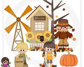 Autumn Days Kids   Clip art  Clipart Graphics  Commercial Use