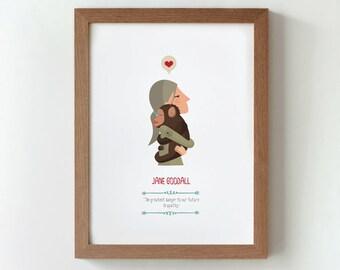 Illustration. Jane Goodall. Print. Wall art. Art decor. Hanging wall. Printed art. Decor home. Gift idea. Bedroom. Sweet home. Tutticonfetti