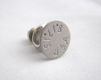 Personalized Tie Tac  Personalized Tie Pin Wedding Groom's Gift Best Man's Groomsmen Anniversary Custom Tie Tack - Initials Date Tie Pin
