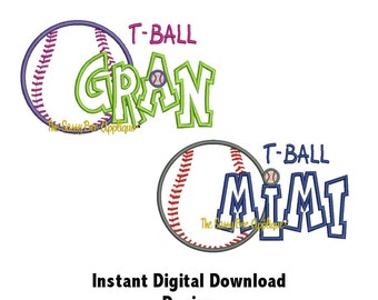 DD T-Ball Mimi and T-Ball Gran Applique - Machine Embroidery Design - 5x7 Hoop - Instant Download