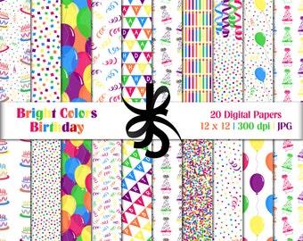 Digital Scrapbook Papers-Bright Colors Birthday-Clipart-Colorful-Birthday Papers-Birthday Invitations-Backgrounds-Instant Download Clip Art