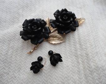 Vintage Crown Trifari Black Rose Brooch Pin and Black Rose Earrings Beautiful