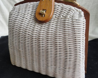 Vintage Simon Mister Ernest White Wicker Summertime Handbag Purse Made in Hong Kong 1960s Wedding Purse