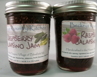 Two Jars RaspberryJalapeno jam homemade jam jelly fruit spread handmade fruit preserves