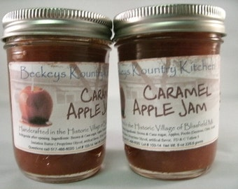 Two Jars Caramel Apple Jam Homemade jam jelly fruit spread handmade fruit preserves