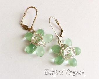 Beaded earrings, silver earrings, flower, wire wrapped flower, green, beaded, wire wrapped, lever back, peridot