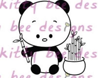 Good Luck Panda Digital Stamp