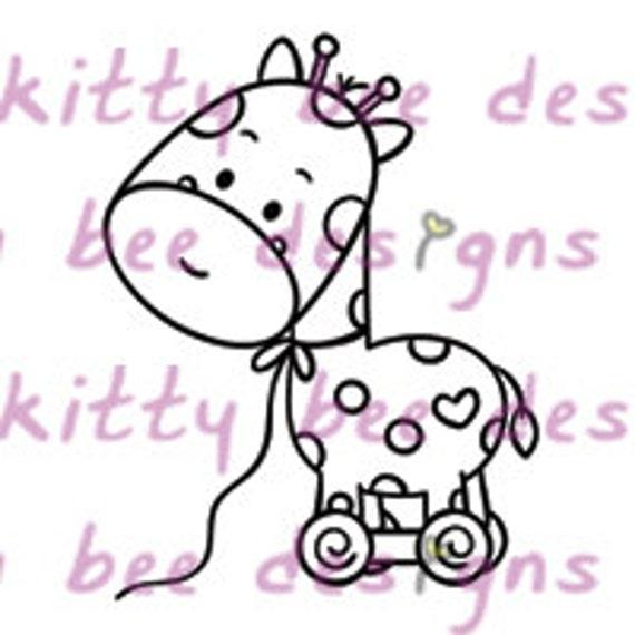 Gello Giraffe Toy Digital Stamp