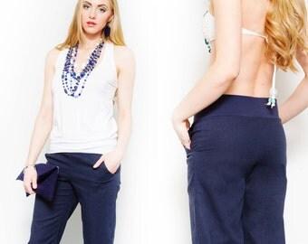 Navy Linen Pants, Linen Beach Pants, Casual Style Pants, Summer Wardrobe, Summer Fashion and Comfort, Comfy Summer Pants, Casual Pants
