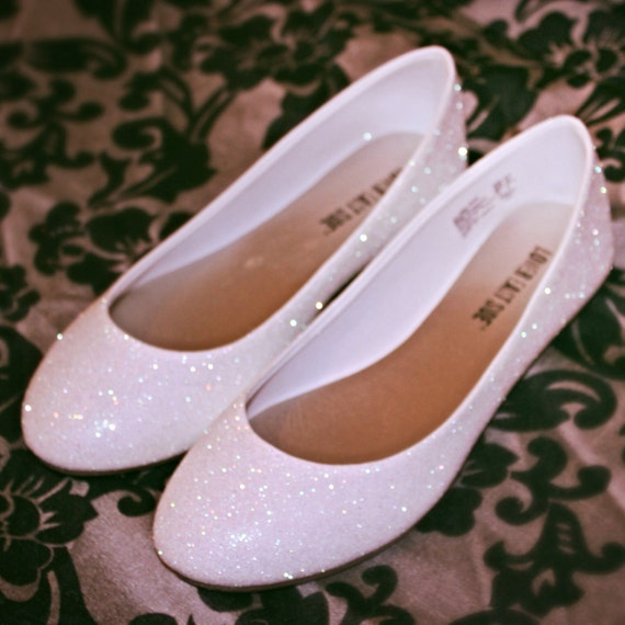 Heels Or Flats For Wedding: White Glitter Bridal Shoes