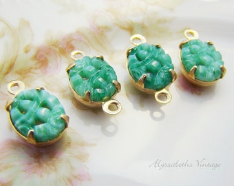 Vintage 10x8mm Oval Light Green Jade Carved Glass Stones in Brass Drop or Connector Settings