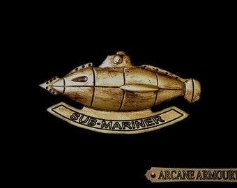 Steampunk Sub-Mariner Badge Kracken hunting Brass Finish