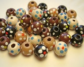 Wood Bead Mix Hand Painted Flowers 10x9 mm - 40 Count