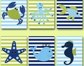 Fish Nursery Whale Nursery Crab Nursery Baby Boy Nursery Art Nursery Wall Art Kids Room Decor Kids Art Boy Print set of 6 11x14 Blue Green