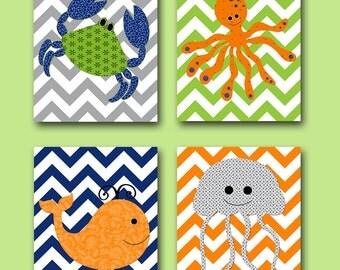 Sea crab nursery whale nursery baby boy nursery art print children