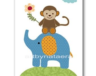 Kids wall art Kids Art Elephant Nursery Monkey Nursery Art Decor Baby Boy Nursery Baby Room Decor Nursery Print Boy Print