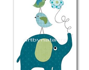 Elephant Nursery Art Childrens Art Kids Wall Art Baby Boy Room Decor Baby Boy Nursery Decor Kids Art Baby Nursery print blue green