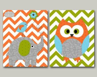 Owl Decor Elephant Nursery Canvas Owl Nursery Art for Children Kid Wall Art Baby Boy Room Baby Boy Nursery Print Baby Nursery Decor set of 2