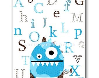 Monster Nursery Alphabet Nursery Children Decor Baby Boy nursery print children wall art Kids Art kids room decor nursery wall art 8x10 blue