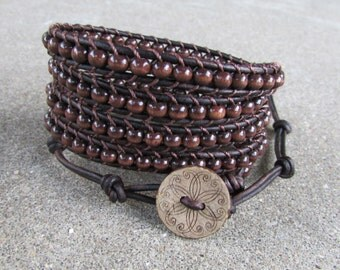 brown leather wrap bracelet wood natural unisex guys or girls multi strand 5 strand wrap around
