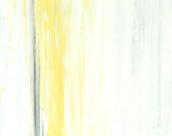 Original Artwork, 2014 - Acrylic Modern Contemporary Abstract Painting Wall Decor Free Shipping Grey Yellow White 11x14 Canvas