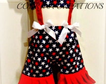 Patriotic, July 4th, RWB, OTT, Pageant Wear,  Boutique Style size  6, 12 24 months, size 2 3 4 5T