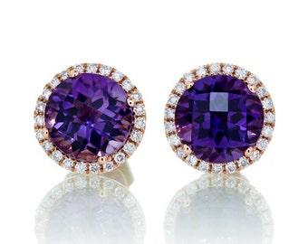 Rose Gold Amethyst Diamond Halo Stud Earrings