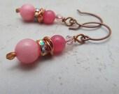 Earrings Copper Pink Morganite and Crystal Gemstone Drops