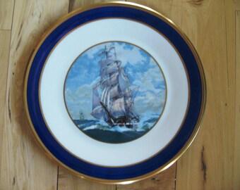 Lenox Special Clipper Ship Dinner Plate Near Mint, Lenox Cobalt Gold Gilded Plate