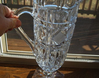 Heavy Lead Crystal Footed Water Pitcher MINT