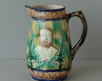 Antique Victorian General Grant majolica pitcher US President Grant majolica jug Commemorative Civil War pitcher General Vintage pitcher