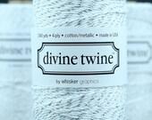 Silver Glitter Divine Twine, Silver Glitter Bakers Twine, Silver Glitter & White Divine Twine - 240 yards